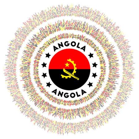 Angola symbol. Radiant country flag with colorful rays. Shiny sunburst with Angola flag. Artistic vector illustration.