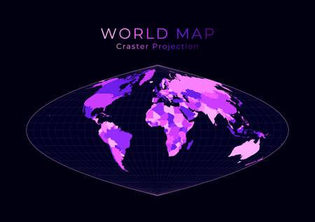 World Map. Craster parabolic projection. Digital world illustration. Bright pink neon colors on dark background. Trendy vector illustration.