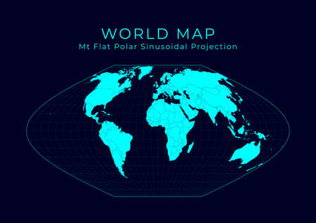 Map of The World. McBryde-Thomas flat-polar sinusoidal equal-area projection. Futuristic Infographic world illustration. Bright cyan colors on dark background. Captivating vector illustration.