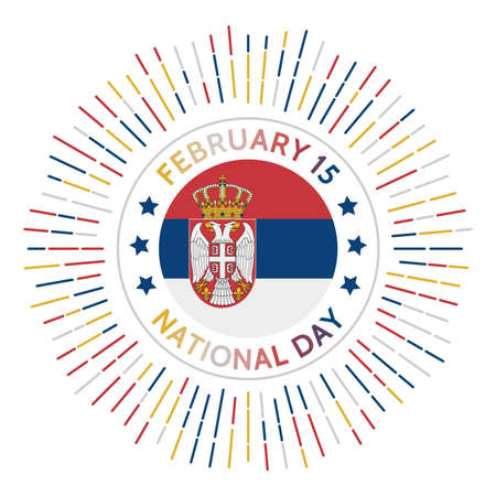 Serbia national day badge. The beginning of First Serbian Uprising in 1804. Celebrated on February 15.