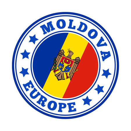Moldova sign. Round country with flag of Moldova. Vector illustration.