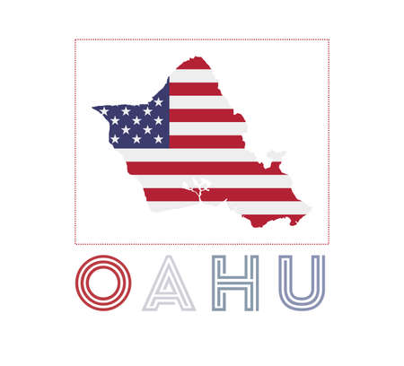 Map of Oahu with island name and flag. Modern vector illustration.