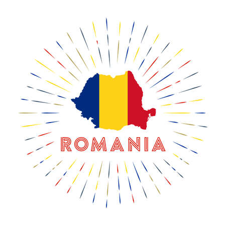 Romania sunburst badge. The country sign with map of Romania with Romanian flag.
