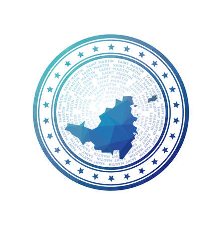 Flat low poly stamp of Saint Martin . Polygonal Saint Martin badge. Trendy vector   of the island.