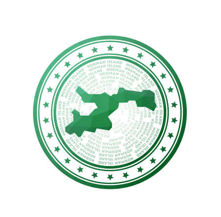 Flat low poly stamp of Norman Island. Polygonal Norman Island badge. Trendy vector   of the island. Illustration