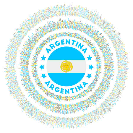 Argentina symbol. Radiant country flag with colorful rays. Shiny sunburst with Argentina flag. Captivating vector illustration.