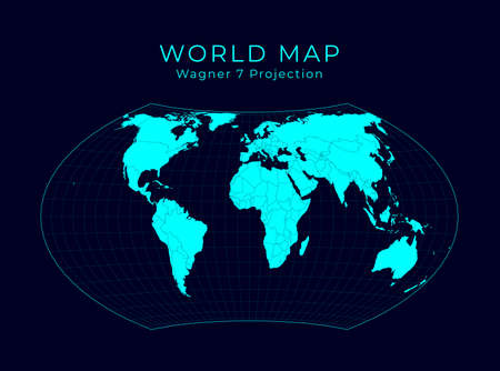 Map of The World. Wagner VII projection. Futuristic Infographic world illustration. Bright cyan colors on dark background. Elegant vector illustration.