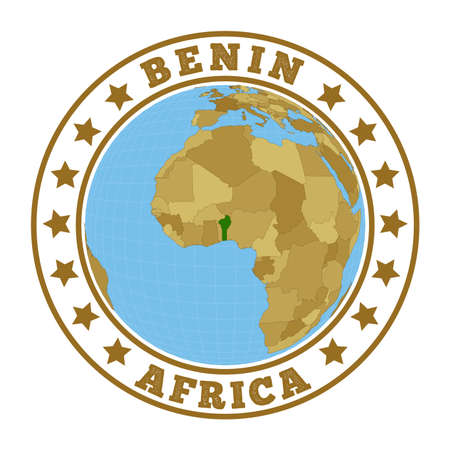 Round badge of country with map of Benin in world context. Country sticker stamp with globe map and round text. Vector illustration. 矢量图像