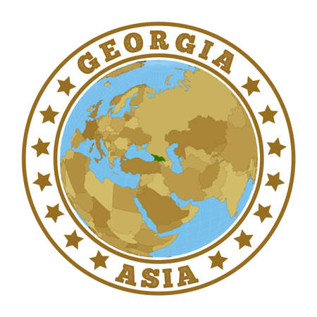 Round badge of country with map of Georgia in world context. Country sticker stamp with globe map and round text. Vector illustration. Vectores