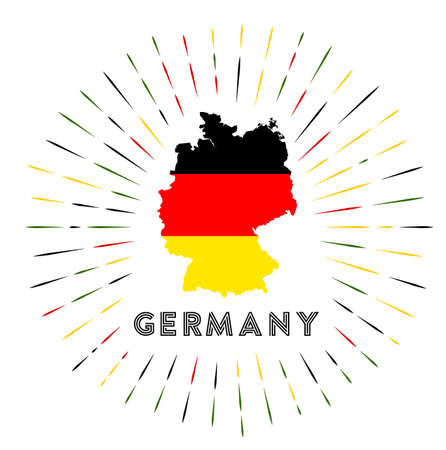 Germany sunburst badge. The country sign with map of Germany with German flag.