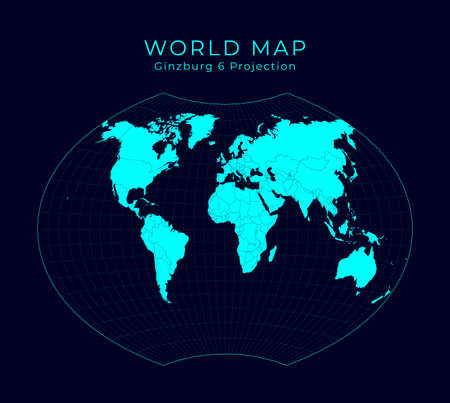 Map of The World. Ginzburg VI projection. Futuristic Infographic world illustration. Bright cyan colors on dark background. Powerful vector illustration.