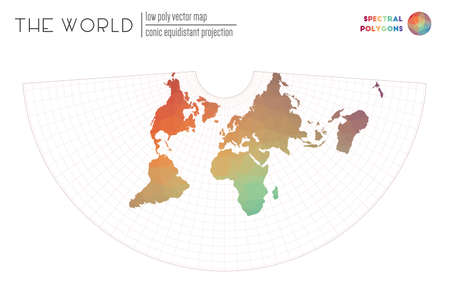 Abstract geometric world map. Conic equidistant projection of the world. Spectral colored polygons. Energetic vector illustration.