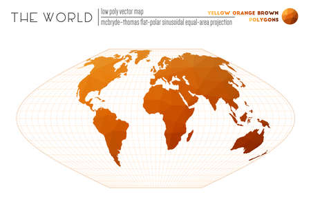 Abstract world map. McBryde-Thomas flat-polar sinusoidal equal-area projection of the world. Yellow Orange Brown colored polygons. Creative vector illustration.