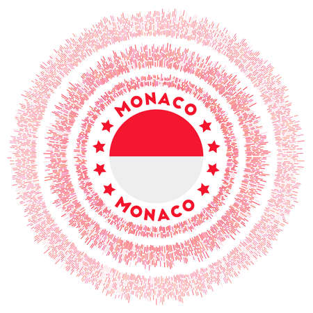Monaco symbol. Radiant country flag with colorful rays. Shiny sunburst with Monaco flag. Amazing vector illustration. Illusztráció
