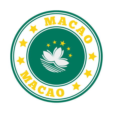Macao sign. Round country with flag of Macao. Vector illustration. Illustration