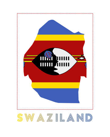 Swaziland. Map of Swaziland with country name and flag. Modern vector illustration.