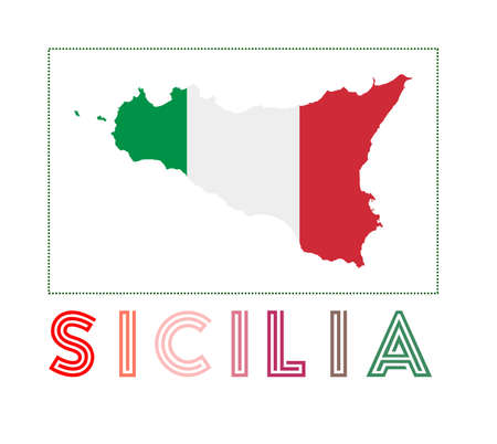 Map of Sicilia with island name and flag. Classy vector illustration.