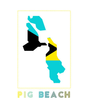 Map of Pig Beach with island name and flag. Awesome vector illustration.