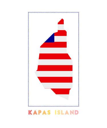 Kapas Island. Map of Kapas Island with island name and flag. Cool vector illustration.