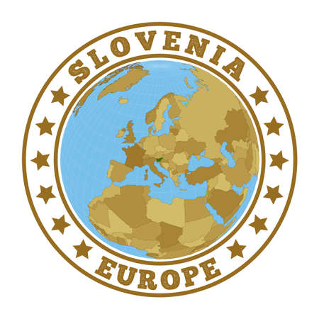Slovenia. Round badge of country with map of Slovenia in world context. Country sticker stamp with globe map and round text. Vector illustration.