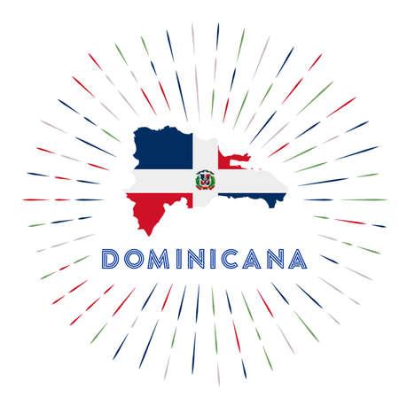 Dominicana Sunburst-Abzeichen. Das Landesschild mit Karte von Dominicana mit dominikanischer Flagge. Vektor-Illustration.