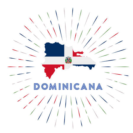 Dominicana sunburst badge. The country sign with map of Dominicana with Dominican flag. Vector illustration.