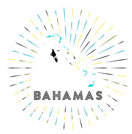 Bahamas sunburst badge. The country sign with map of Bahamas with Bahamian flag. Vector illustration. Stock Illustratie
