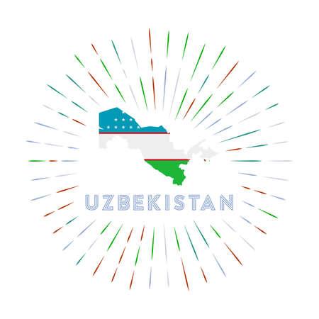 Uzbekistan sunburst badge. The country sign with map of Uzbekistan with Uzbekistani flag. Vector illustration. Archivio Fotografico - 138420489