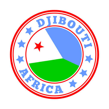 Djibouti sign. Round country with flag of Djibouti. Vector illustration. Фото со стока - 138420495