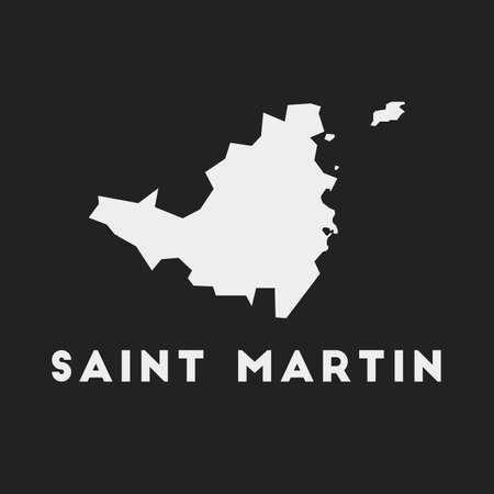 Icône de Saint-Martin. Carte de l'île sur fond sombre. Carte élégante de Saint-Martin avec le nom de l'île. Illustration vectorielle.