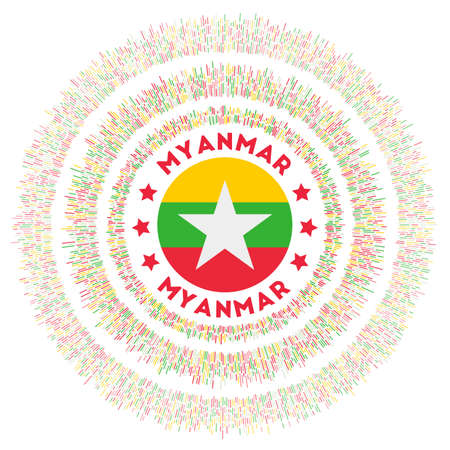 Myanmar symbol. Radiant country flag with colorful rays. Shiny sunburst with Myanmar flag. Charming vector illustration. Archivio Fotografico - 138420946