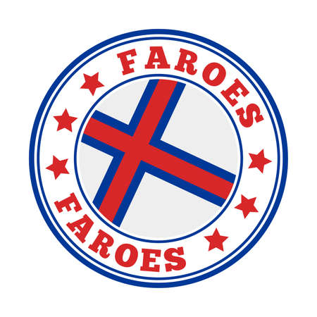 Faroes sign. Round country with flag of Faroes. Vector illustration.