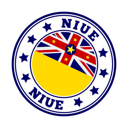 Niue sign. Round country with flag of Niue. Vector illustration.