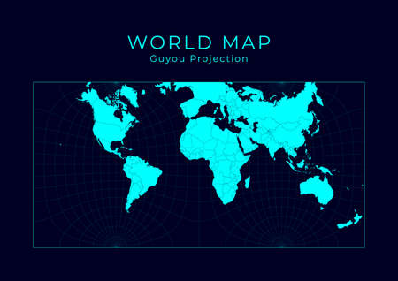 Map of The World. Guyou hemisphere-in-a-square projection. Futuristic Infographic world illustration. Bright cyan colors on dark background. Amazing vector illustration.
