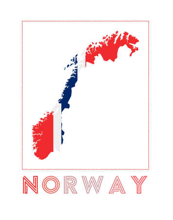 Norway. Map of Norway with country name and flag. Attractive vector illustration. Ilustrace