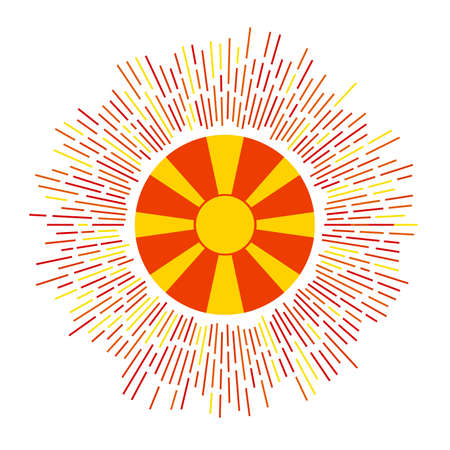 Macedonia sign. Country flag with colorful rays. Radiant sunburst with Macedonia flag. Vector illustration.