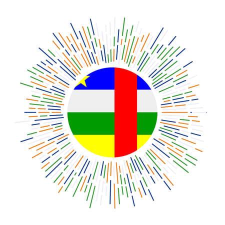 CAR sign. Country flag with colorful rays. Radiant sunburst with CAR flag. Vector illustration. Vektoros illusztráció