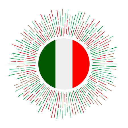 Italy sign. Country flag with colorful rays. Radiant sunburst with Italy flag. Vector illustration.
