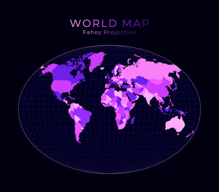 World Map. Fahey pseudocylindrical projection. Digital world illustration. Bright pink neon colors on dark background. Charming vector illustration.