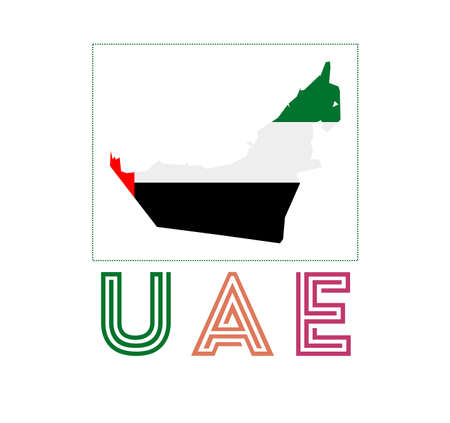 UAE. Map of UAE with country name and flag. Astonishing vector illustration.