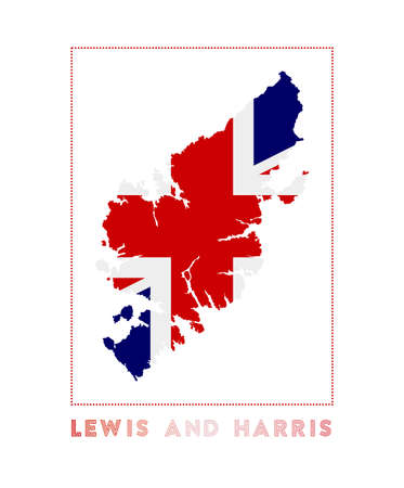 Lewis and Harris. Map of Lewis and Harris with island name and flag. Classy vector illustration.