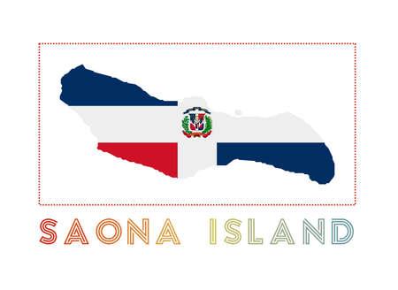 Saona Island Logo. Map of Saona Island with island name and flag. Attractive vector illustration. Ilustração