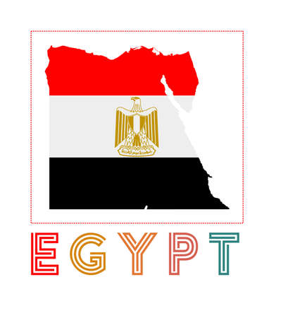 Egypt. Map of Egypt with country name and flag. Artistic vector illustration.