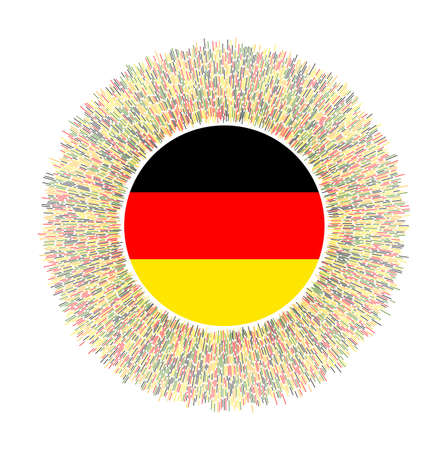 Flag of Germany with colorful rays. Radiant country sign. Shiny sunburst with Germany flag. Elegant vector illustration.
