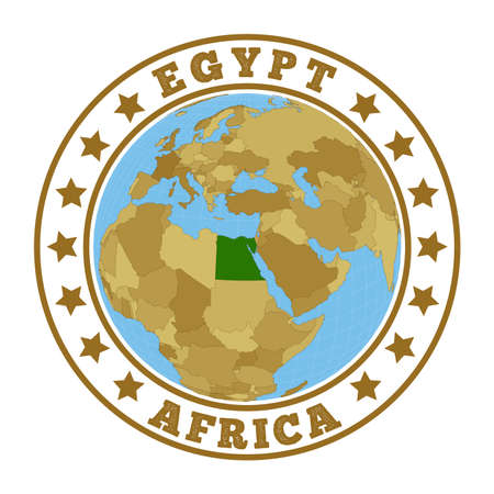 Egypt. Round badge of country with map of Egypt in world context. Country sticker stamp with globe map and round text. Vector illustration. Illusztráció