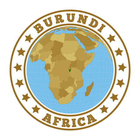 Burundi. Round badge of country with map of Burundi in world context. Country sticker stamp with globe map and round text. Vector illustration. Illustration