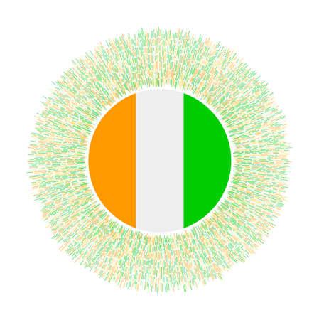 Flag of Ivory Coast with colorful rays. Radiant country sign. Shiny sunburst with Ivory Coast flag. Trendy vector illustration. Illustration