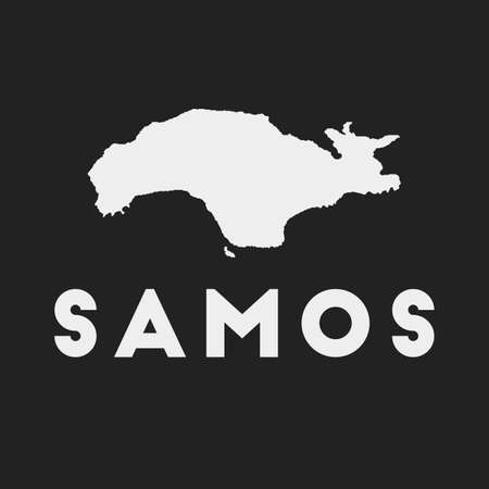Samos icon. Island map on dark background. Stylish Samos map with island name. Vector illustration.