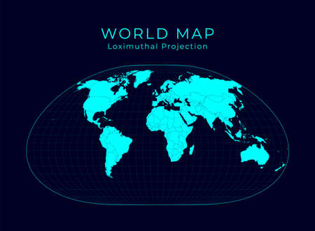 Map of The World. Loximuthal projection. Futuristic Infographic world illustration. Bright cyan colors on dark background. Superb vector illustration.