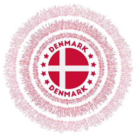 Denmark symbol. Radiant country flag with colorful rays. Shiny sunburst with Denmark flag. Neat vector illustration. Ilustrace